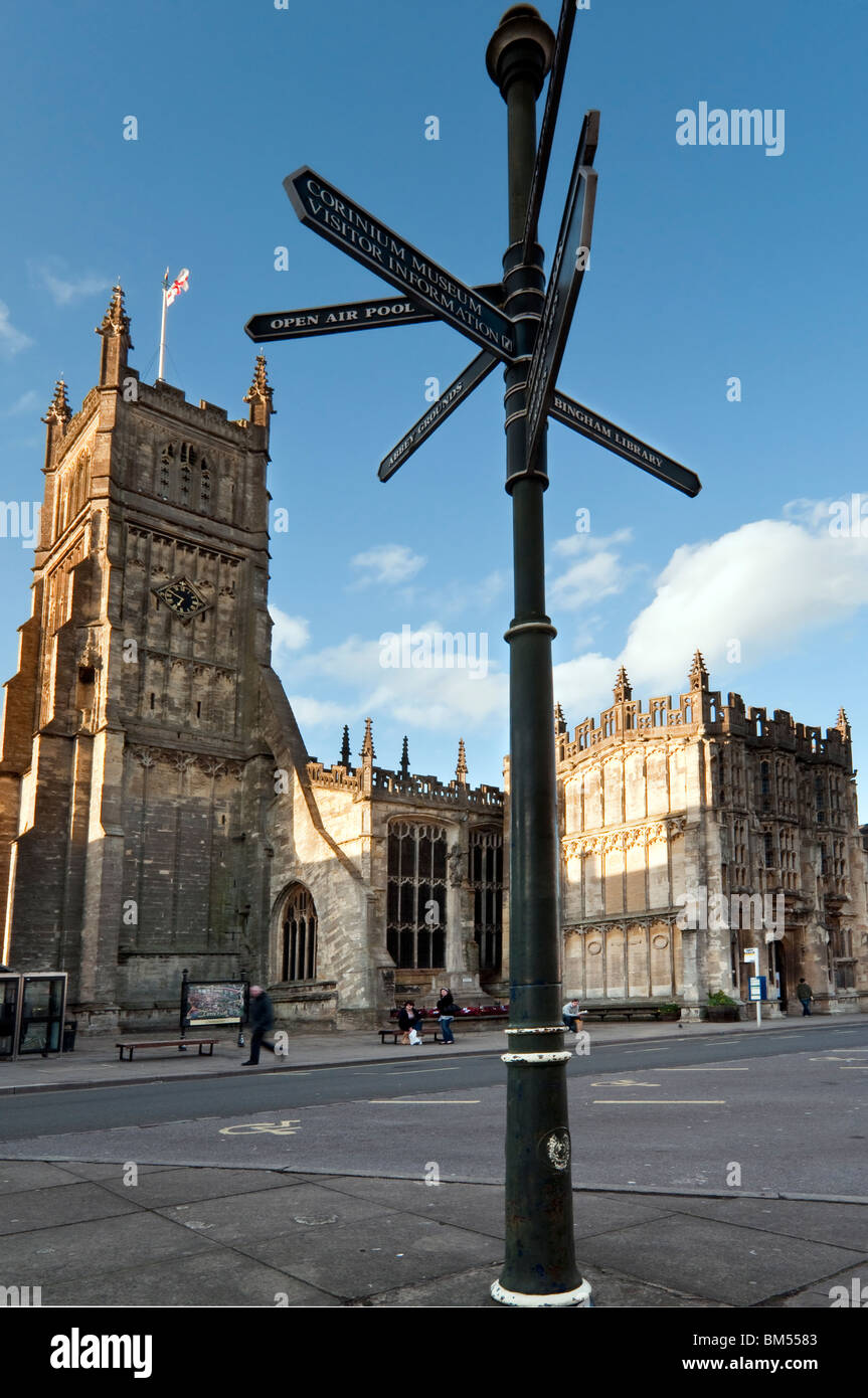Main square in the Cotswold town of Cirencester with St John the Baptist Church - Stock Image
