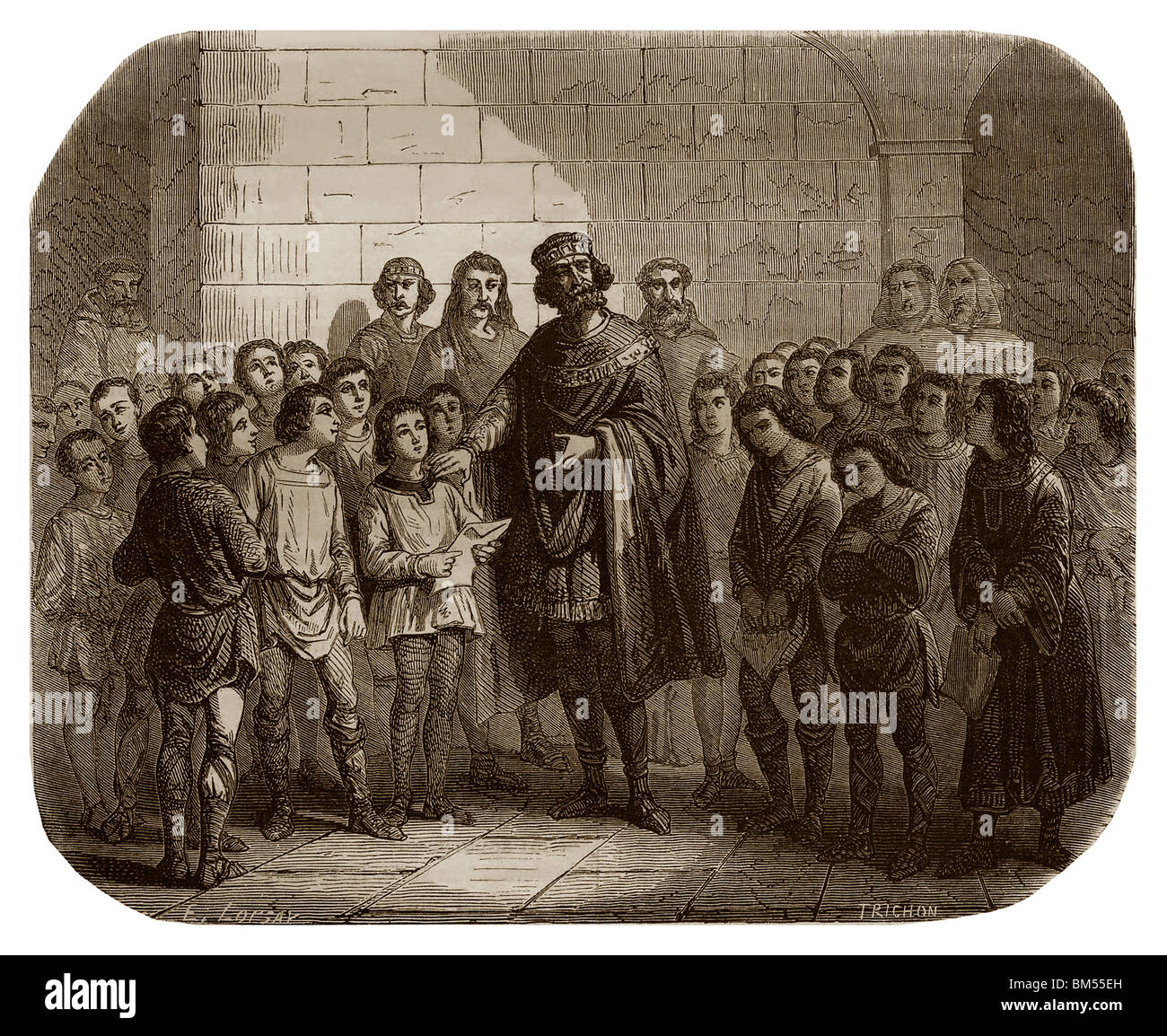 Charlemagne in schools in the late 8th and 9th centuries: Charlemagne created schools in bishoprics and in monasteries. - Stock Image