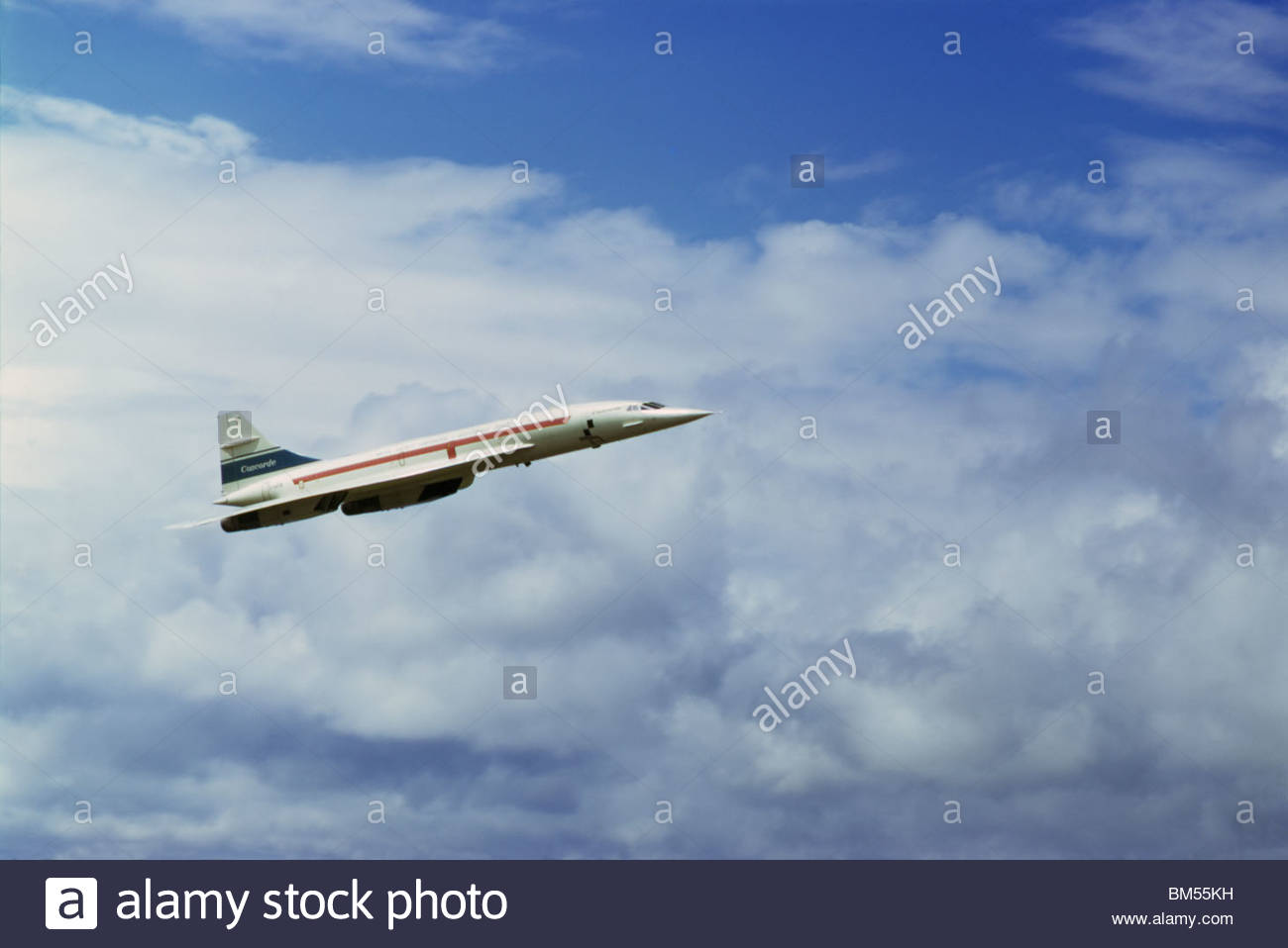 Concorde airplane 101 G-AXDN (a pre-production version before production of the airline version) in flight at the Stock Photo
