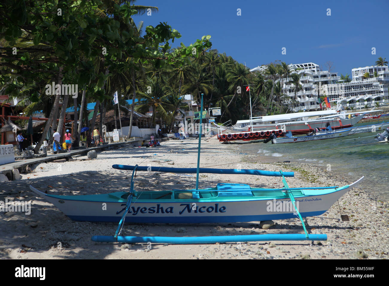Small La Laguna Beach in Puerto Galera, located on the north of Mindoro Occidental in the Philippines. Stock Photo