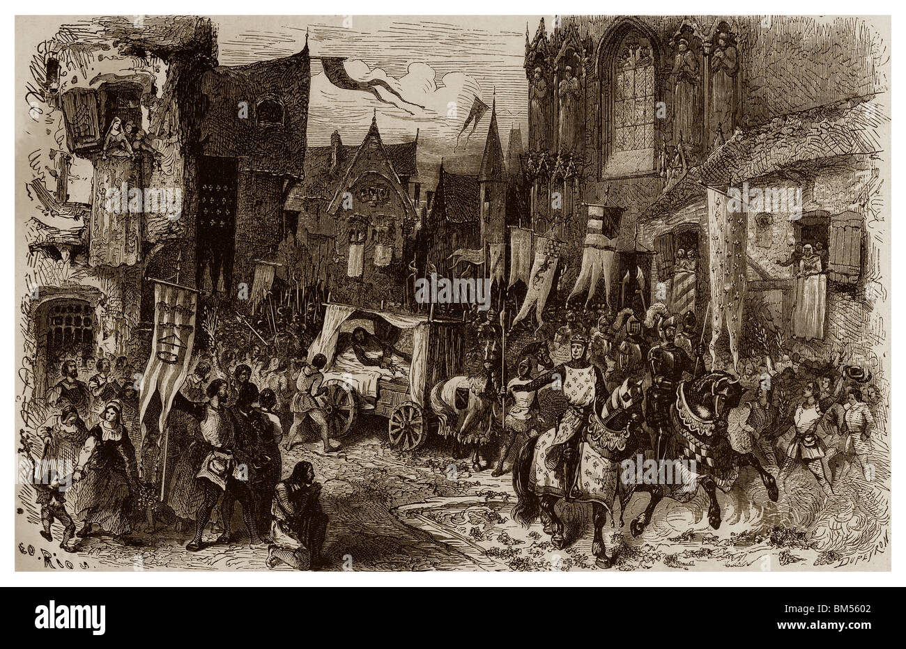 Triumphal entrance of Philip Augustus in Paris, after his victory during the battle of Bouvines of the 27th July - Stock Image