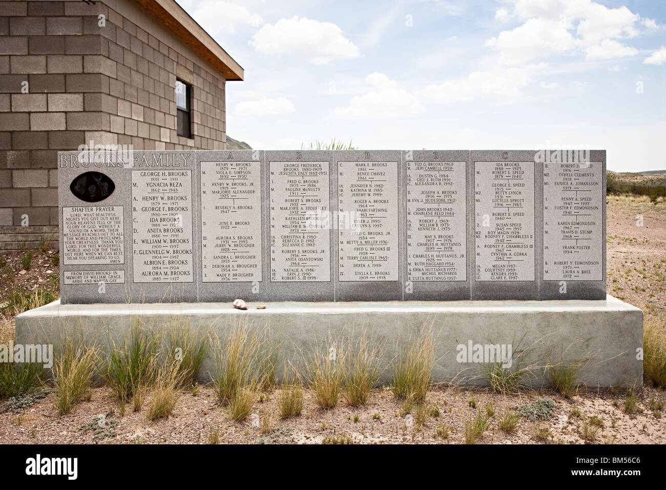 Memorial showing genealogy of Brooks family Concordia cemetery Shafter silver mining ghost town Texas USA - Stock Image
