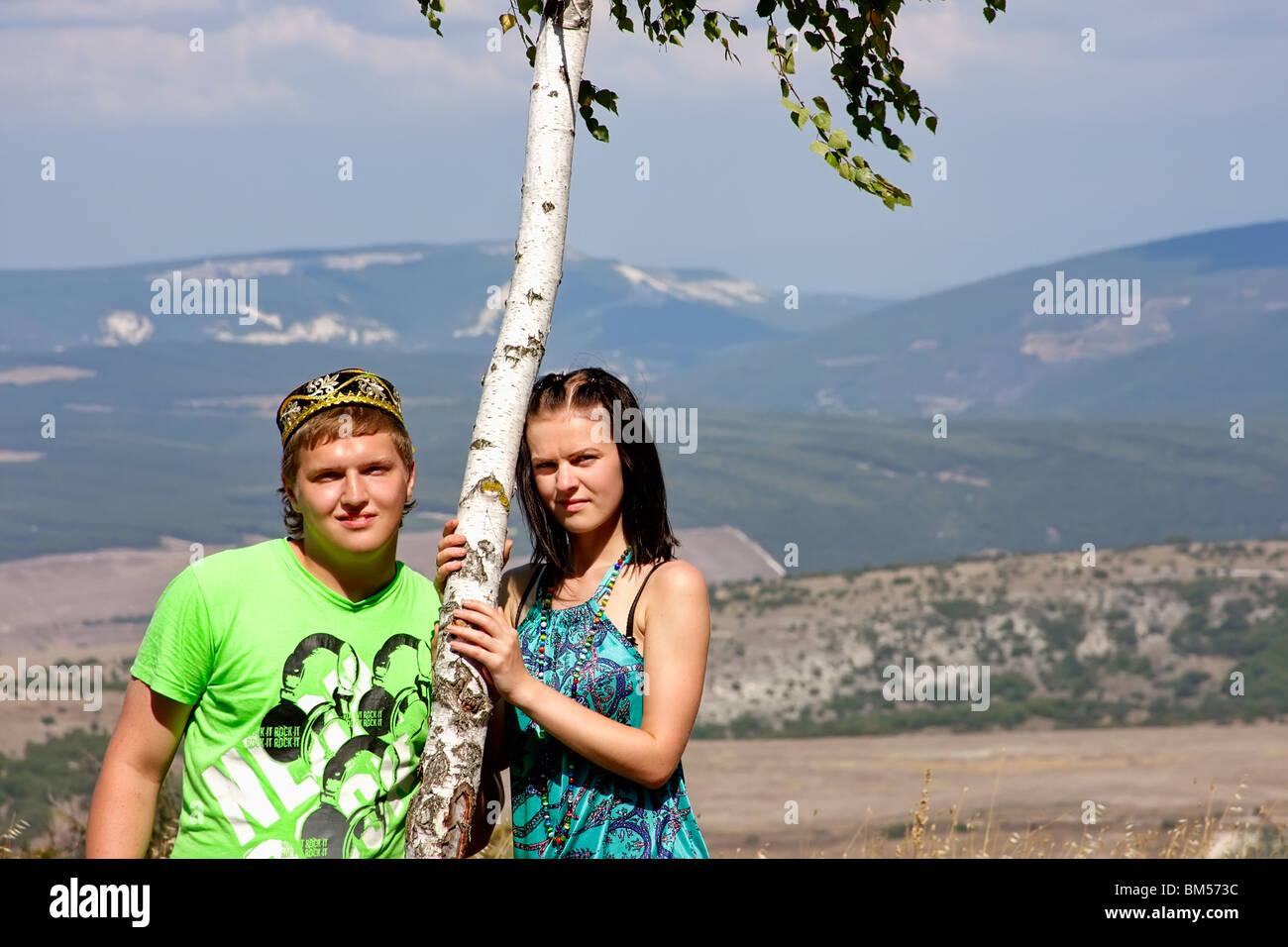 Beautiful pair for a birch - Stock Image