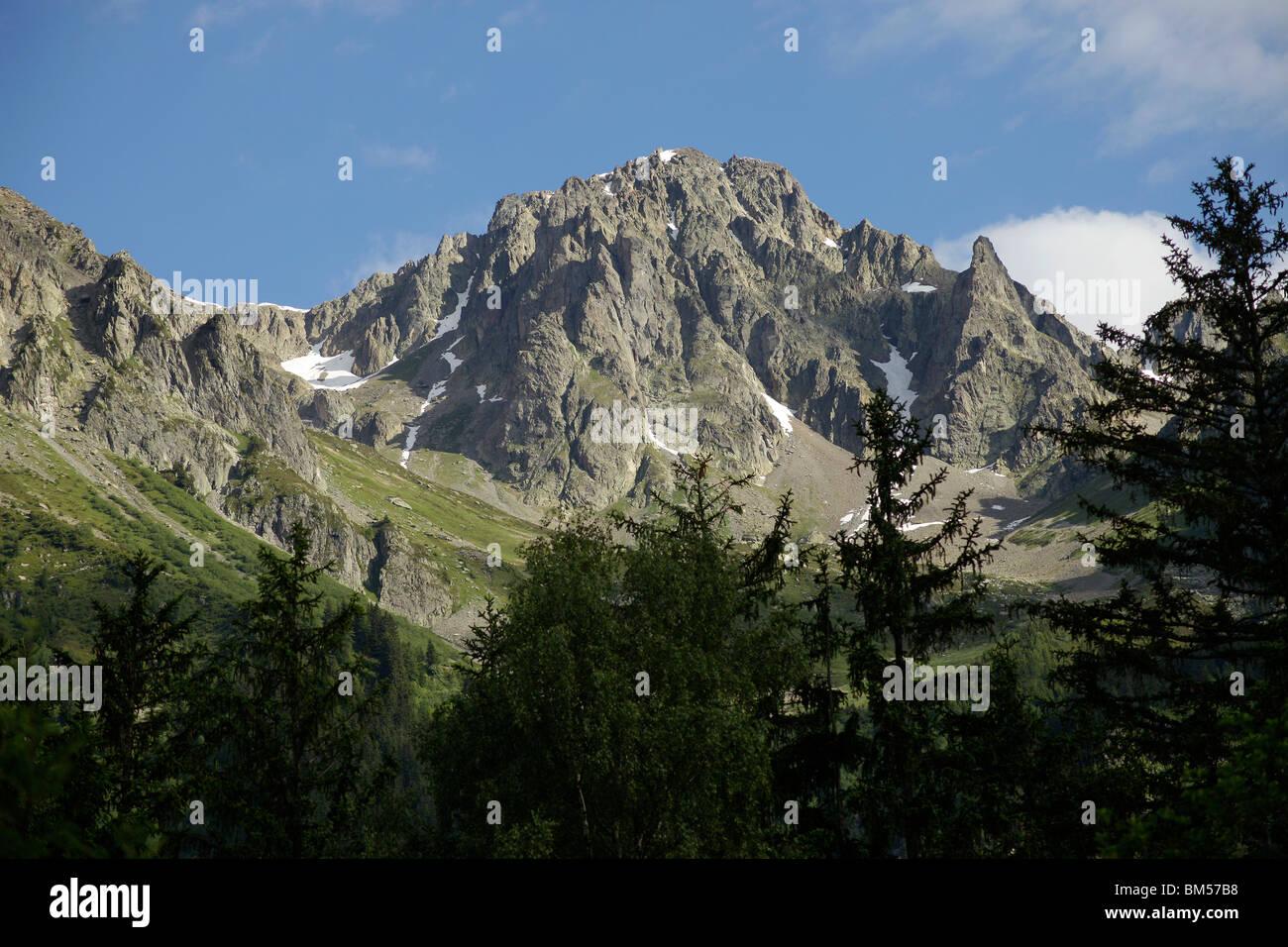Mont Blanc Massif, near Chamonix-Mont-Blanc, France, Europe Stock Photo