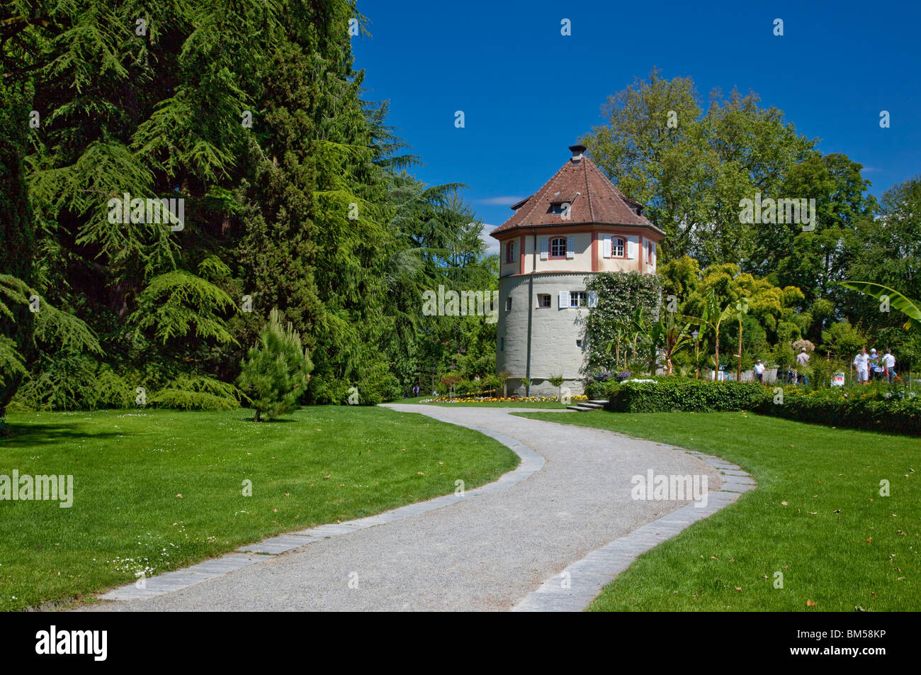 Pathway leading to small tower, Insel Mainau, Baden-Würtemberg, Germany - Stock Image