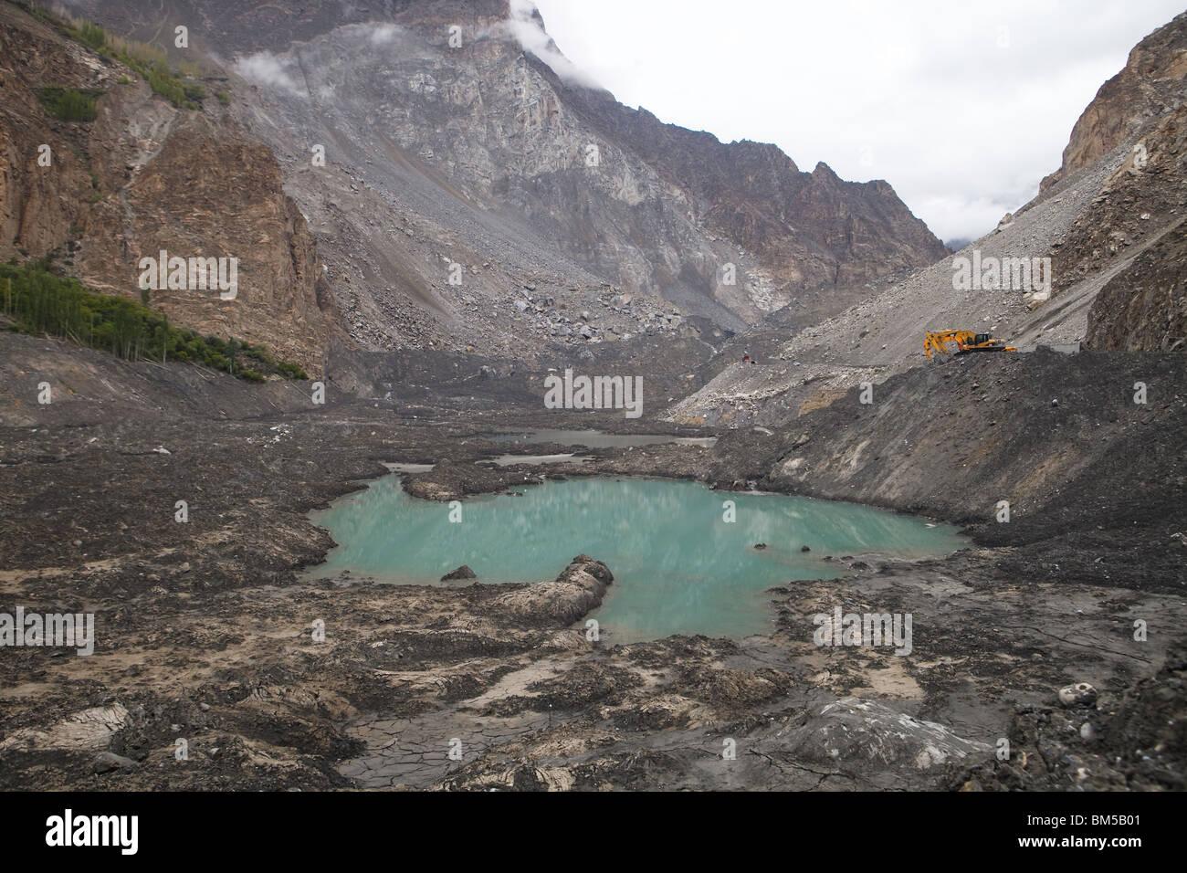 The landslide area at Attabad which blocks the Karakoram Highway, Hunza, Pakistan - Stock Image