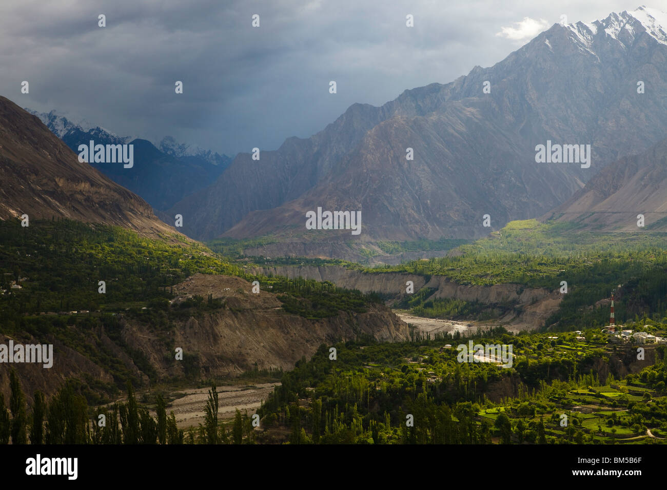 Hunza Valley at Karimabad, Pakistan - Stock Image