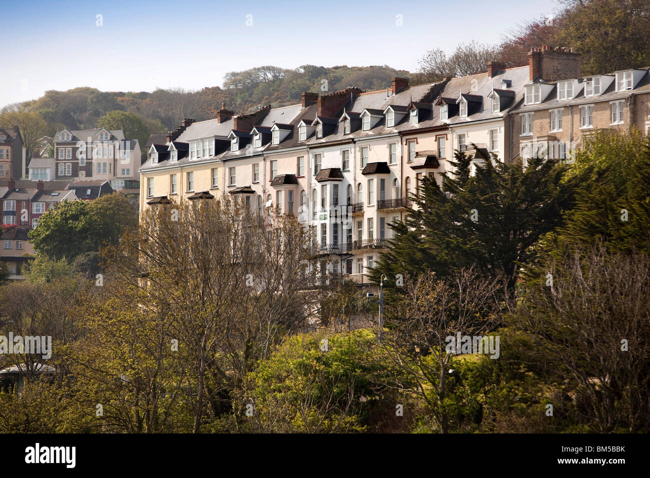 UK, England, Devon, Ilfracombe, tall houses overlooking the harbour - Stock Image