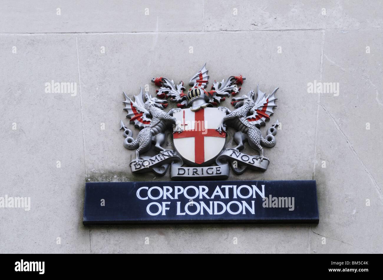Corporation of London Coat of Arms Insignia, London, England, UK - Stock Image