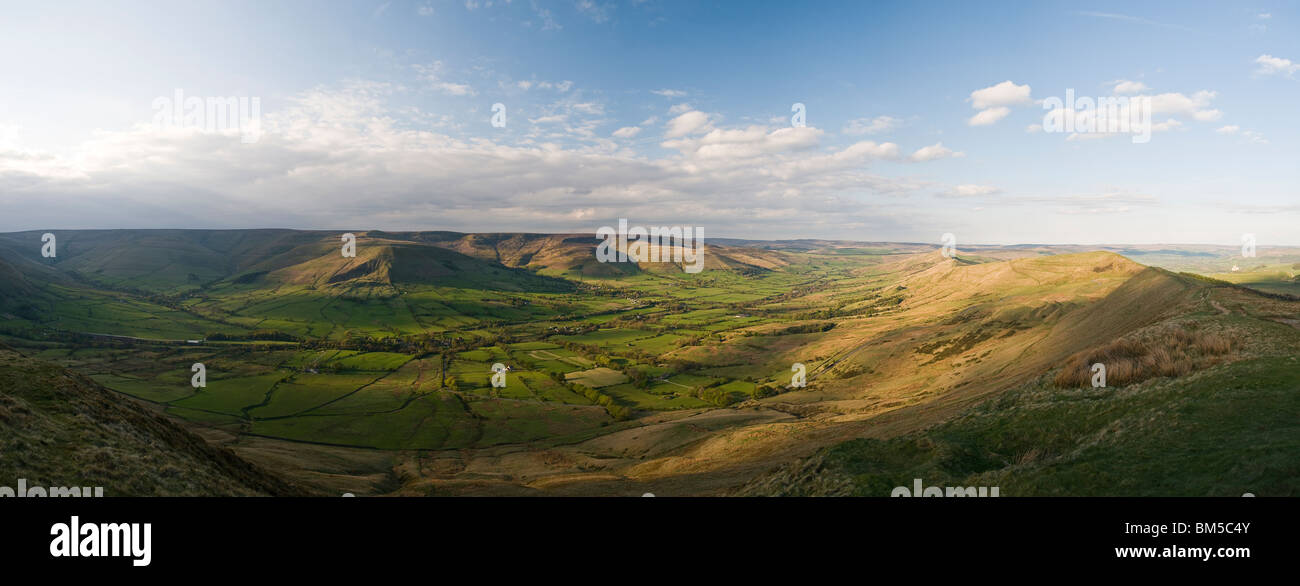 Mam Tor and Hope Valley, Peak District, Derbyshire, UK - Stock Image