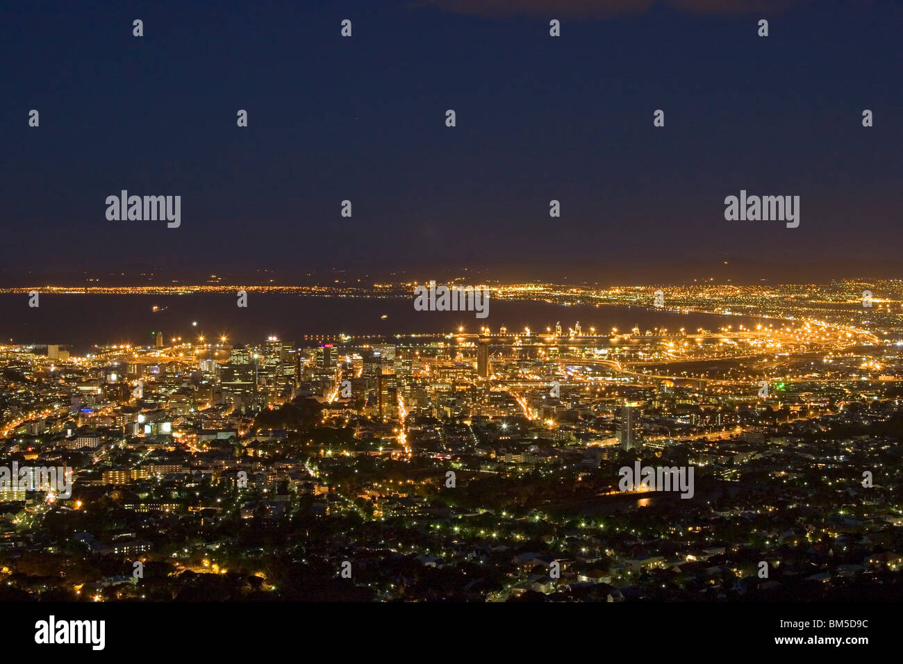 Cape Town at night - South Africa - Stock Image