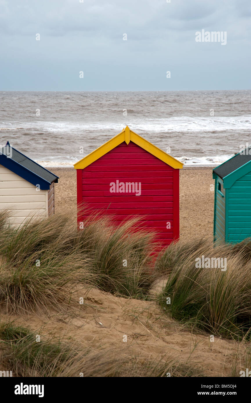 Dunes and red beach hut, Southwold, Suffolk, UK - Stock Image