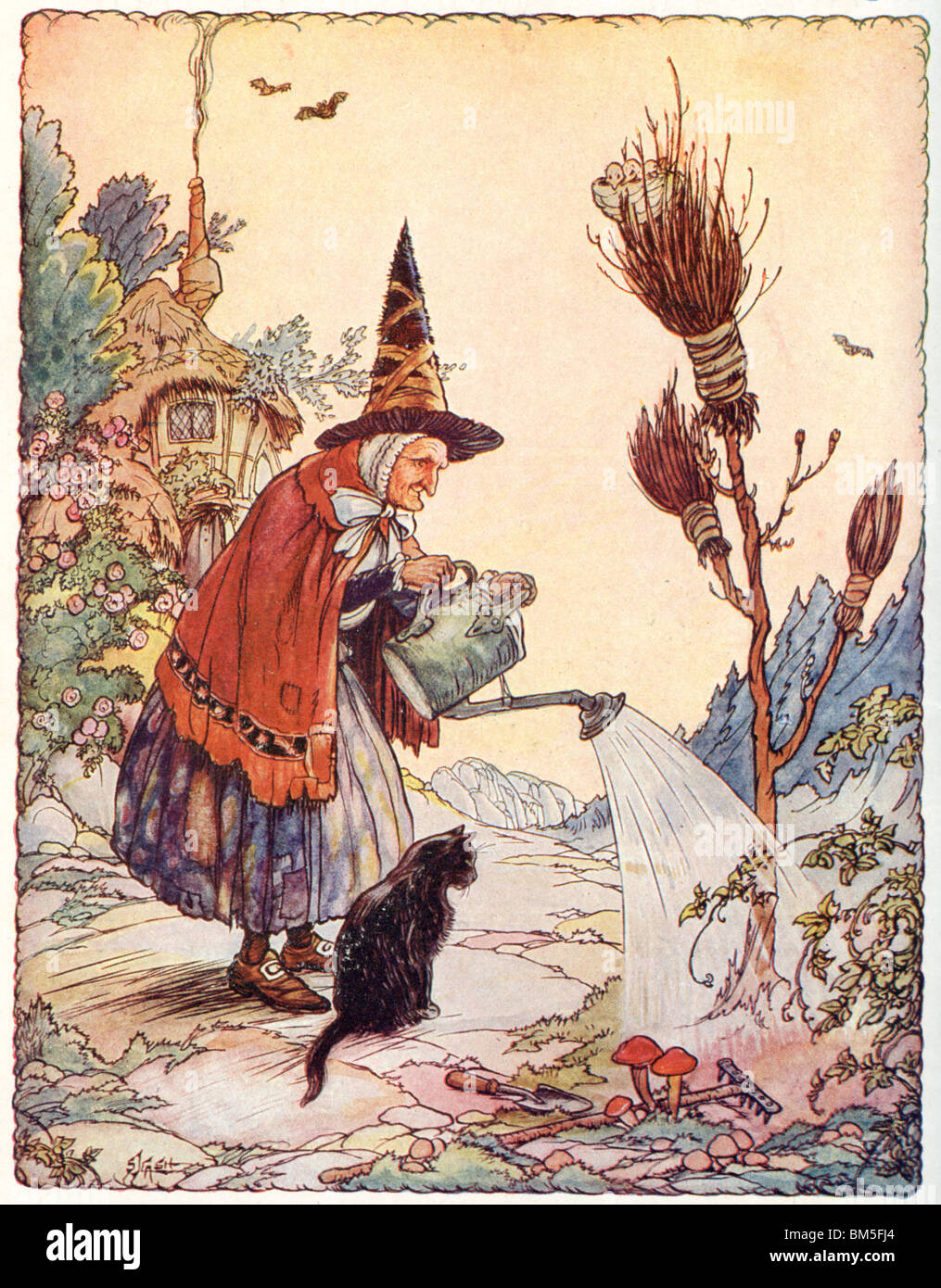 A Busy Day for the Old Witch - Stock Image