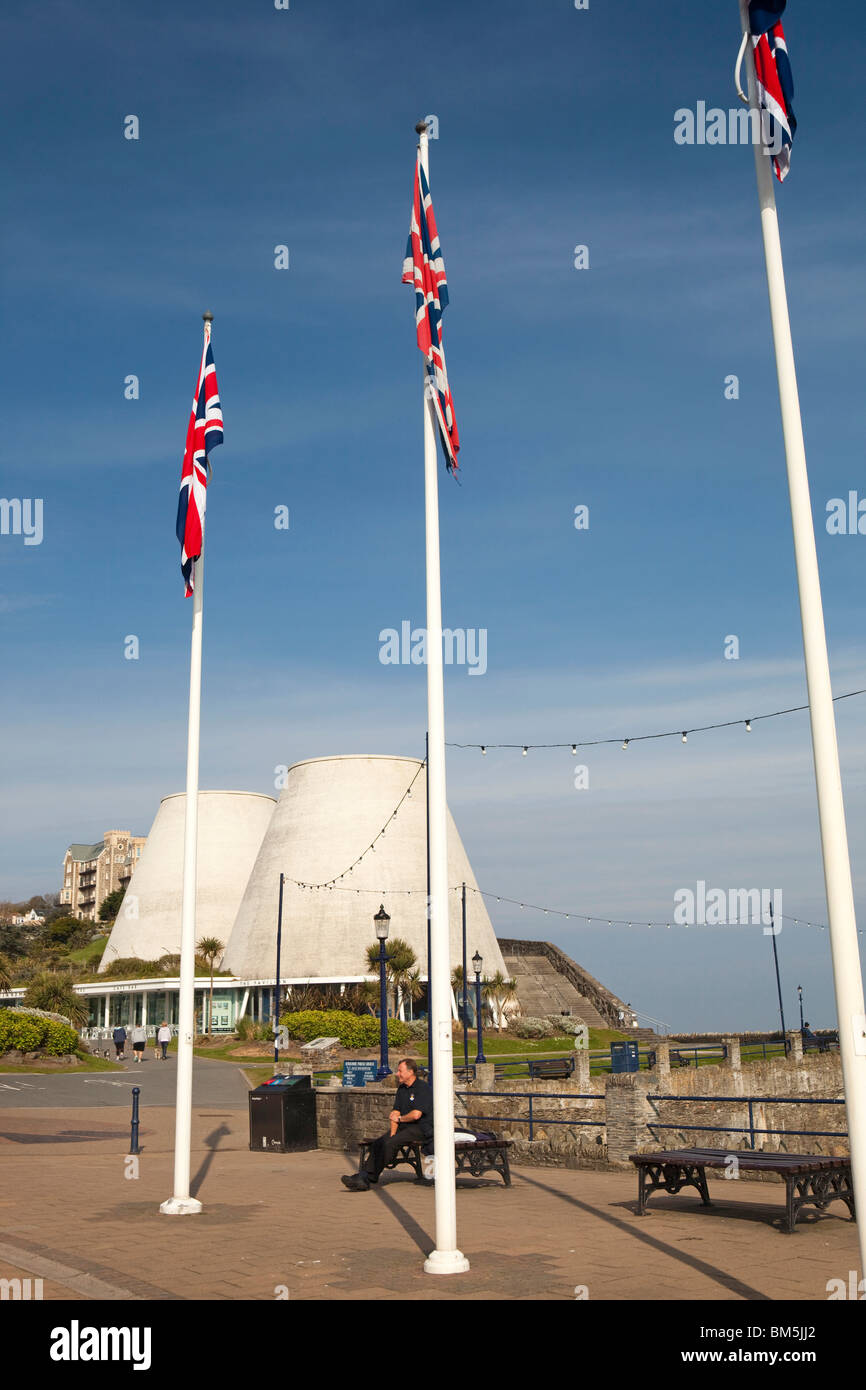 UK, England, Devon, Ilfracombe, Promenade, flags flying outside Landmark Theatre - Stock Image