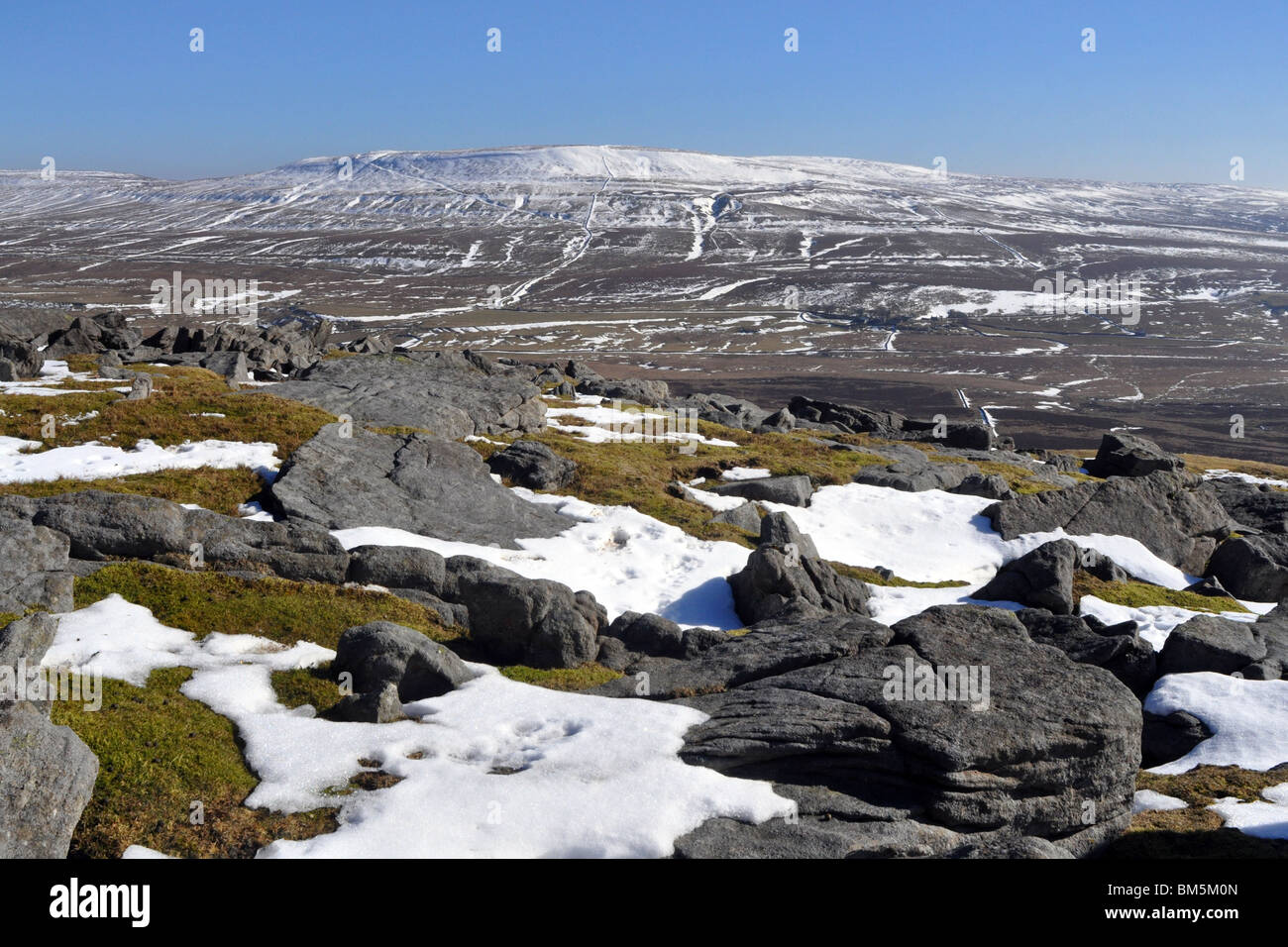 Pen Y Ghent,  topped with snow Yorkshire Dales UK - Stock Image