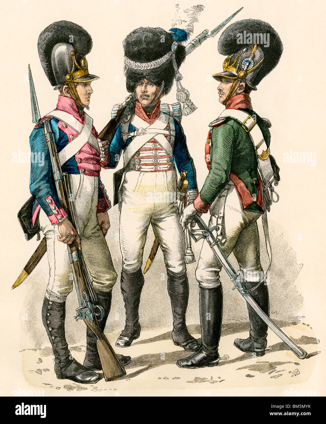 French army uniforms: infantry 1814-1825, grenadier 1812-1815, and cavalry 1805-1812. Hand-colored print - Stock Image