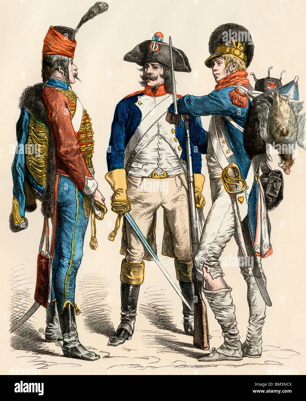 French hussar, cavalry, and infantry uniforms, 1795-1796. Hand-colored print - Stock Image