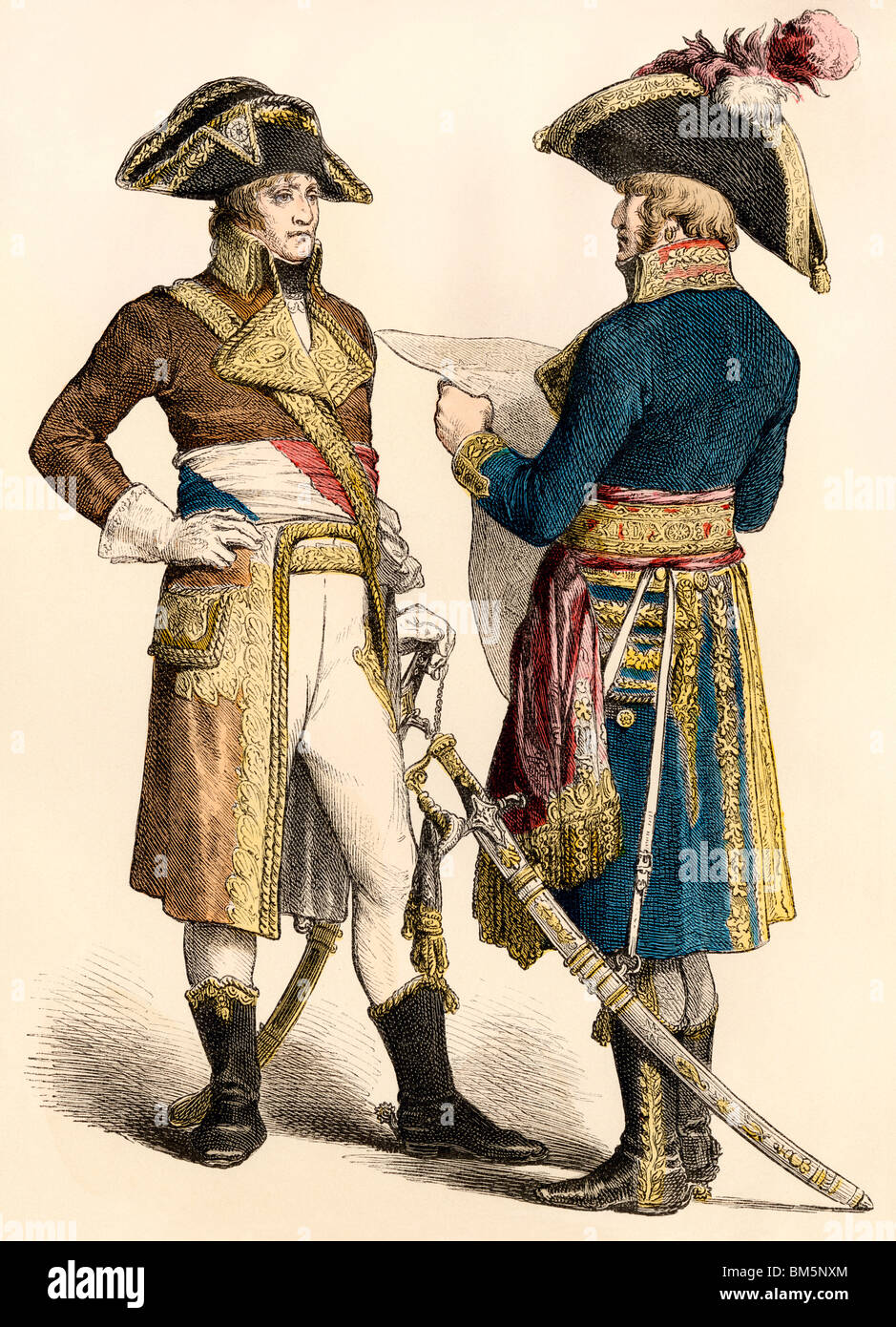 French generals during the early Napoleonic Wars, 1799-1800. Hand-colored print - Stock Image