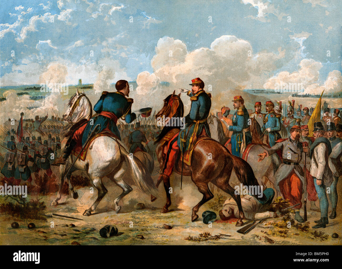 Napoleon III leading French and Sardinian forces against the Austrians at Solferino, Italy, 1859. Color lithograph - Stock Image