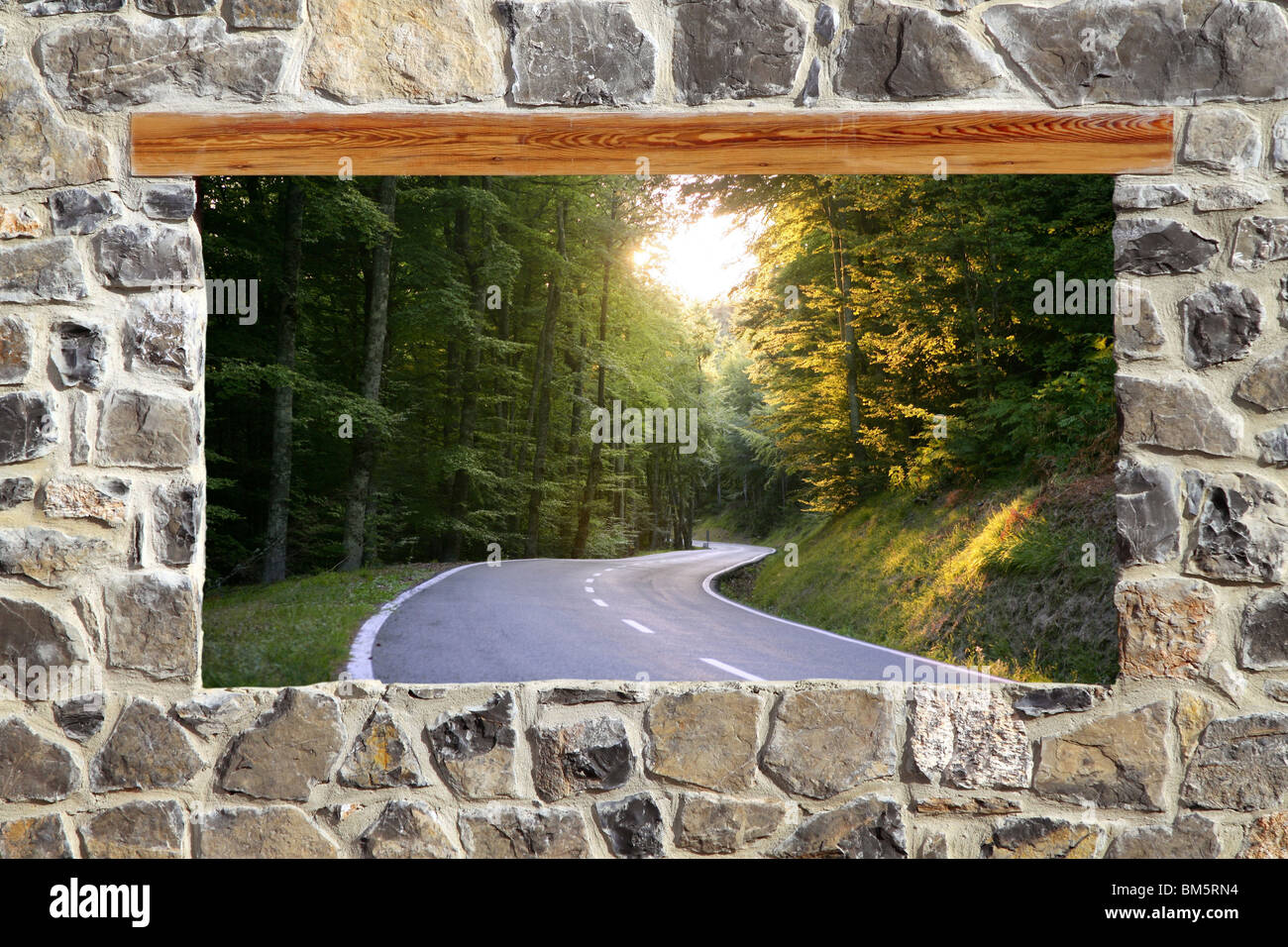 view through window road forest curve masonry wall - Stock Image