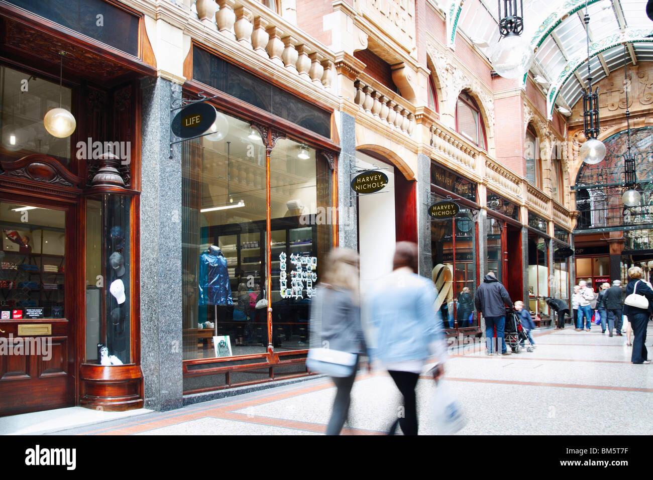 Harvey Nichols cafe outside Harvey Nichols store in the Victoria Quarter on Briggate, Leeds, Yorkshire, England. - Stock Image