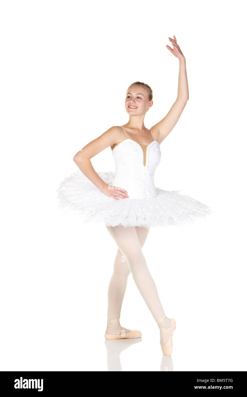 Young caucasian ballerina girl wearing a tutu on white background Stock Photo