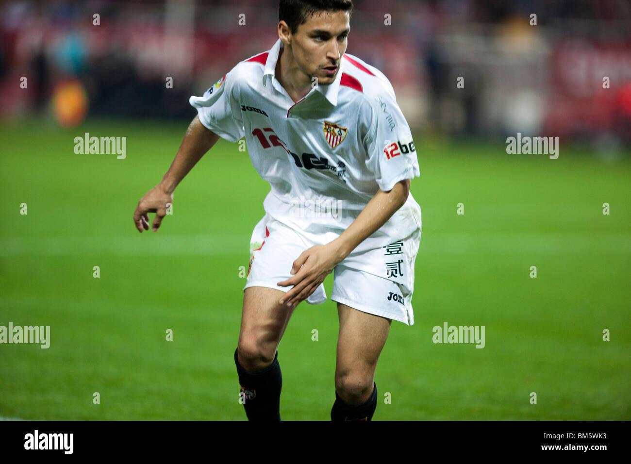Jesus Navas looking at the game. - Stock Image