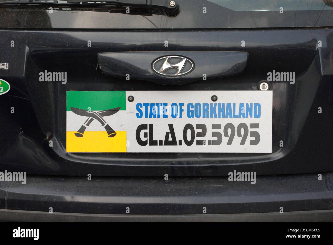 Gorkhaland car registration plate - Stock Image