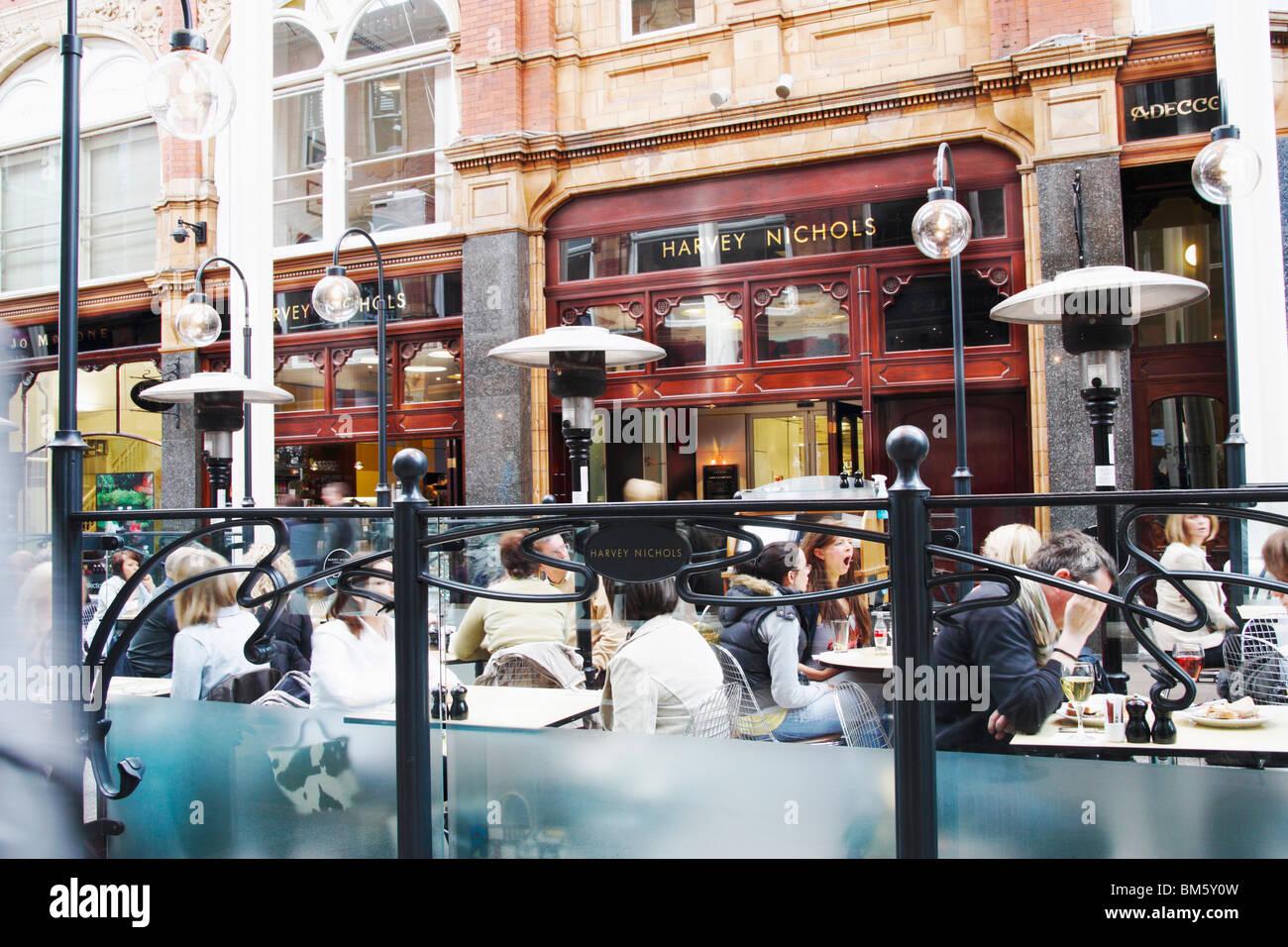 Harvey Nichols cafe outside Harvey Nichols store in the Victoria Quarter, Briggate, Leeds, Yorkshire, England. UK - Stock Image
