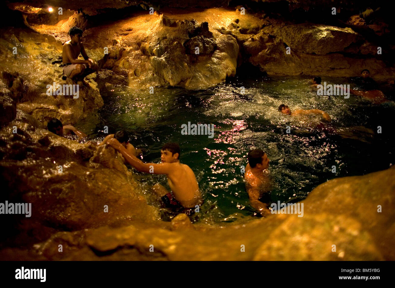 People Bathe In San Ignacio Cenote A Natural Underground Pool Yucatan State On Mexicos Peninsula June 14 2009