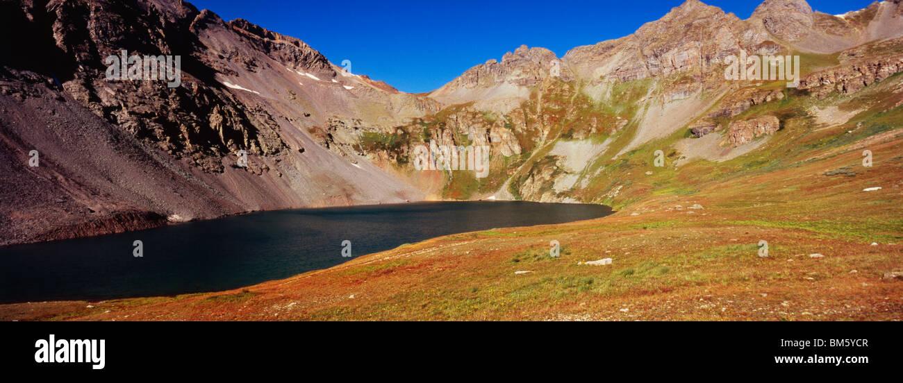Mountain lake in Colorado Rockies near Silverton Colorado US - Stock Image