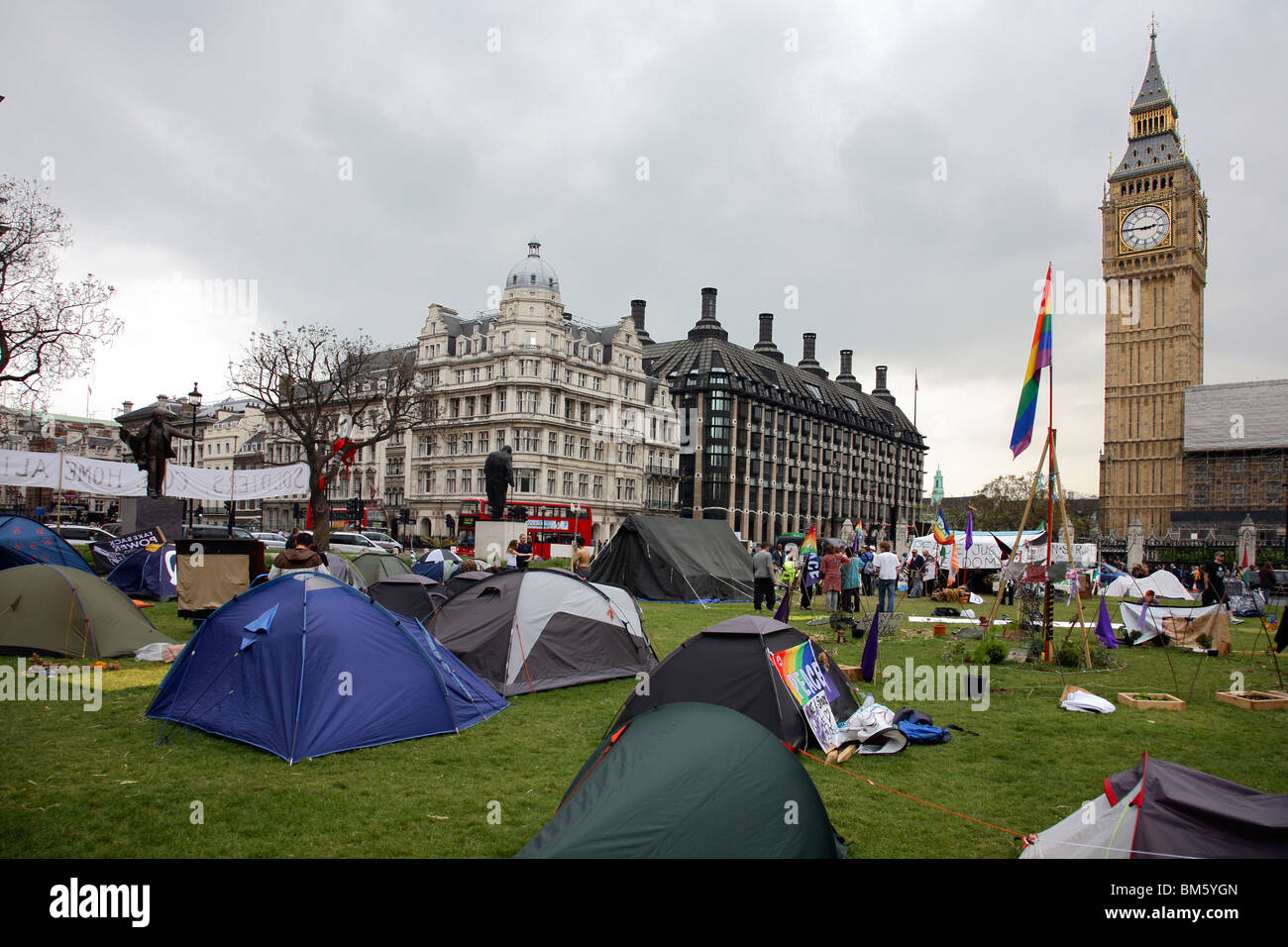 Campaigners set up peace camp in London's Parliament Square Stock Photo