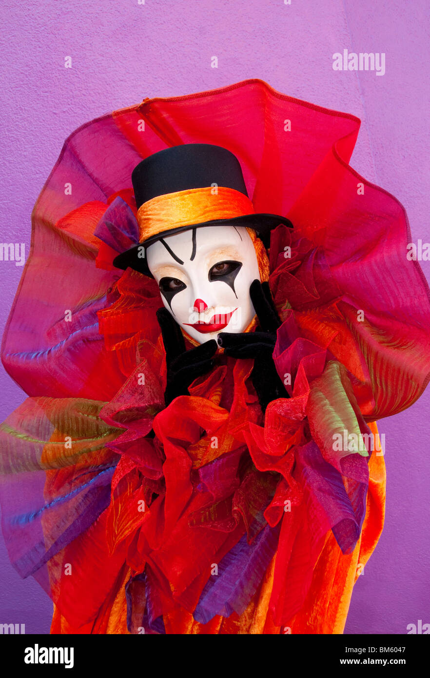 Clown at Venice Carnival, Italy. - Stock Image