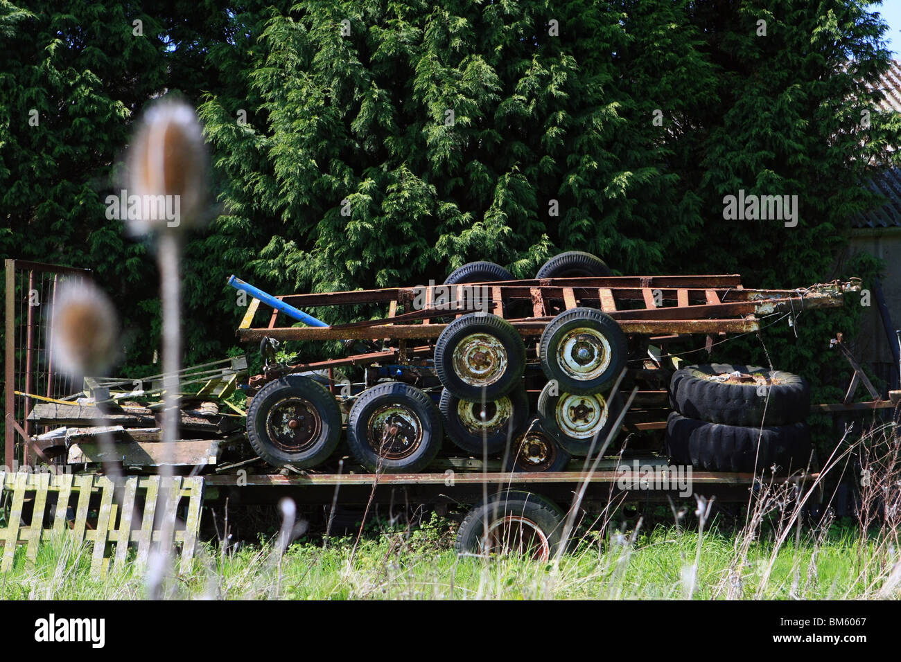a broken trailer with rusty old trailers stacked on top, in front of conifers in the countryside on a sunny day - Stock Image
