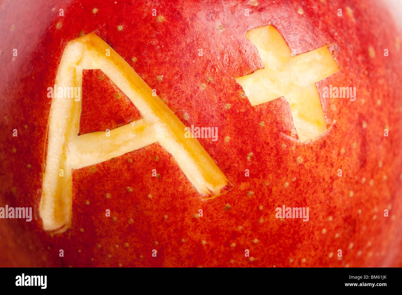 Red apple and A Plus sign, Concept of learning - Stock Image