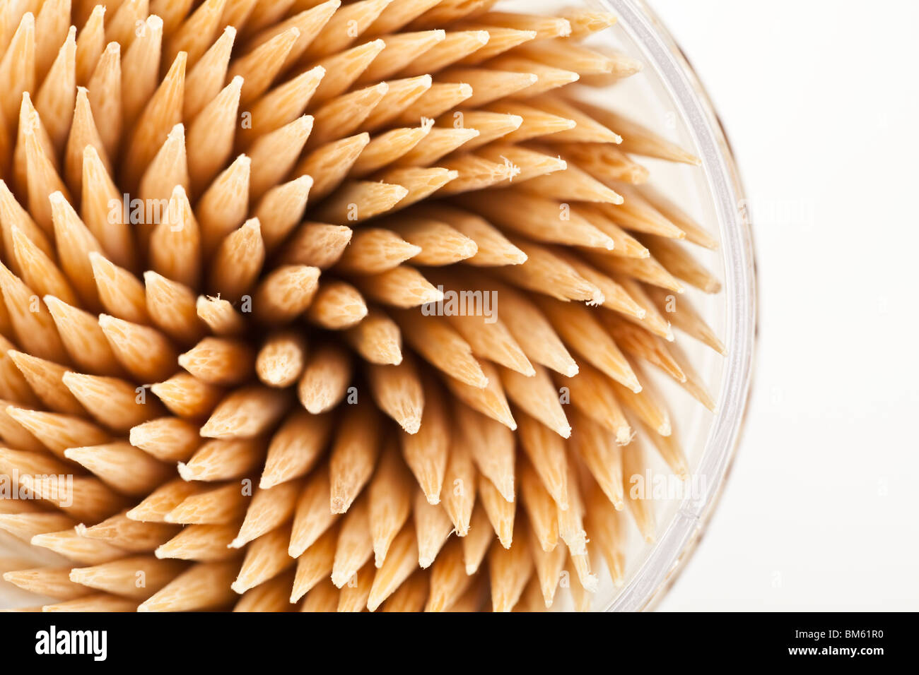 Toothpicks with white background close up shot - Stock Image