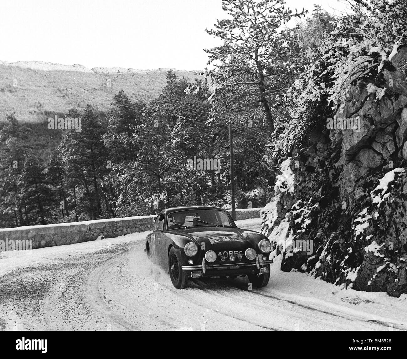 AC Aceca driven by T. Clarke on the 1958 Monte Carlo rally - Stock Image