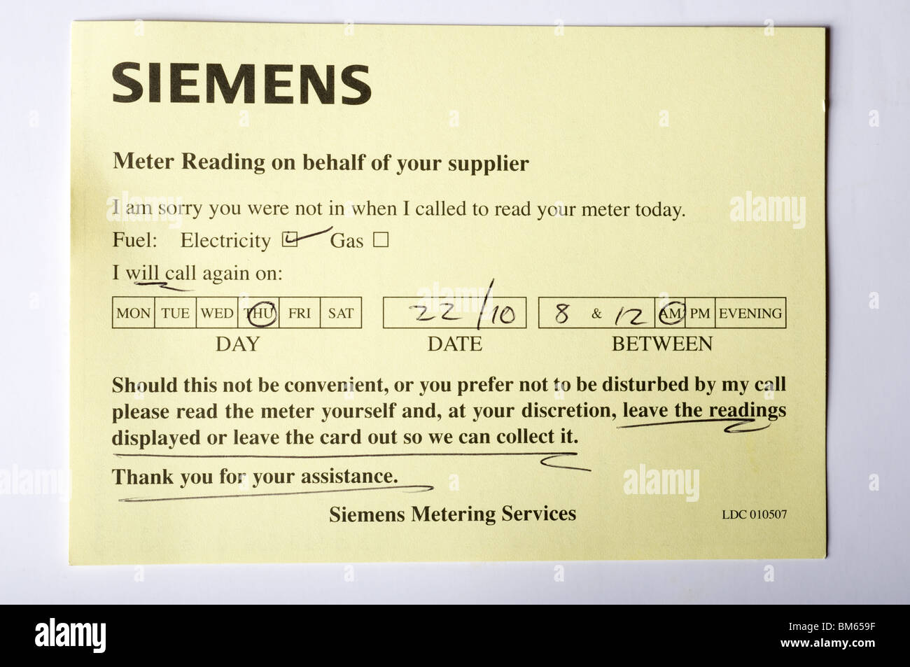 Siemens electricity meter reading card which is left at a customers house if they were not in at the time. - Stock Image