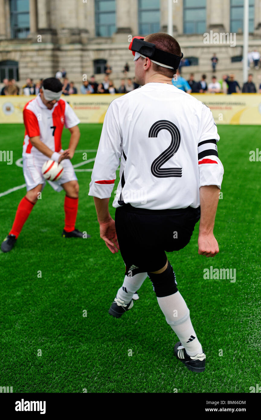 Day of Blind Football in front of the German Reichstag building, Berlin, Germany - Stock Image
