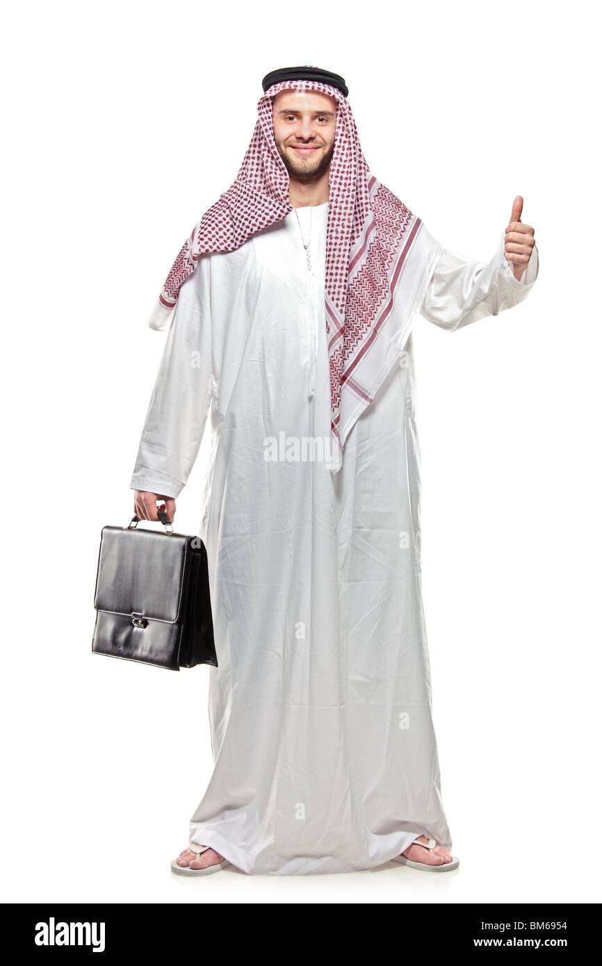 An Arab person with a thumbs up - Stock Image