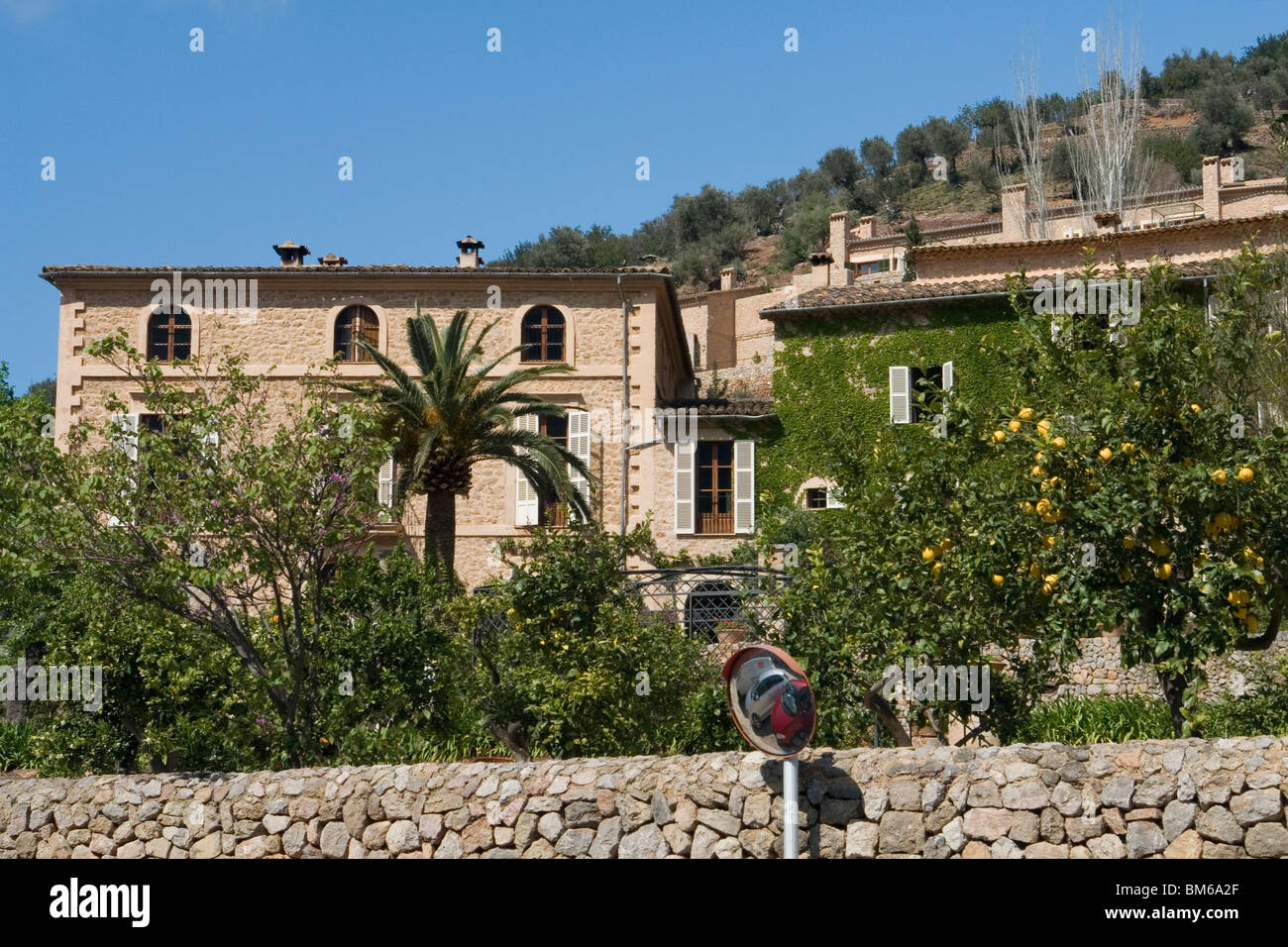 Large impressive houses in Deia (Majorca - Spain) with lemon trees bearing fruit. Maisons bourgeoises à Deia - Stock Image