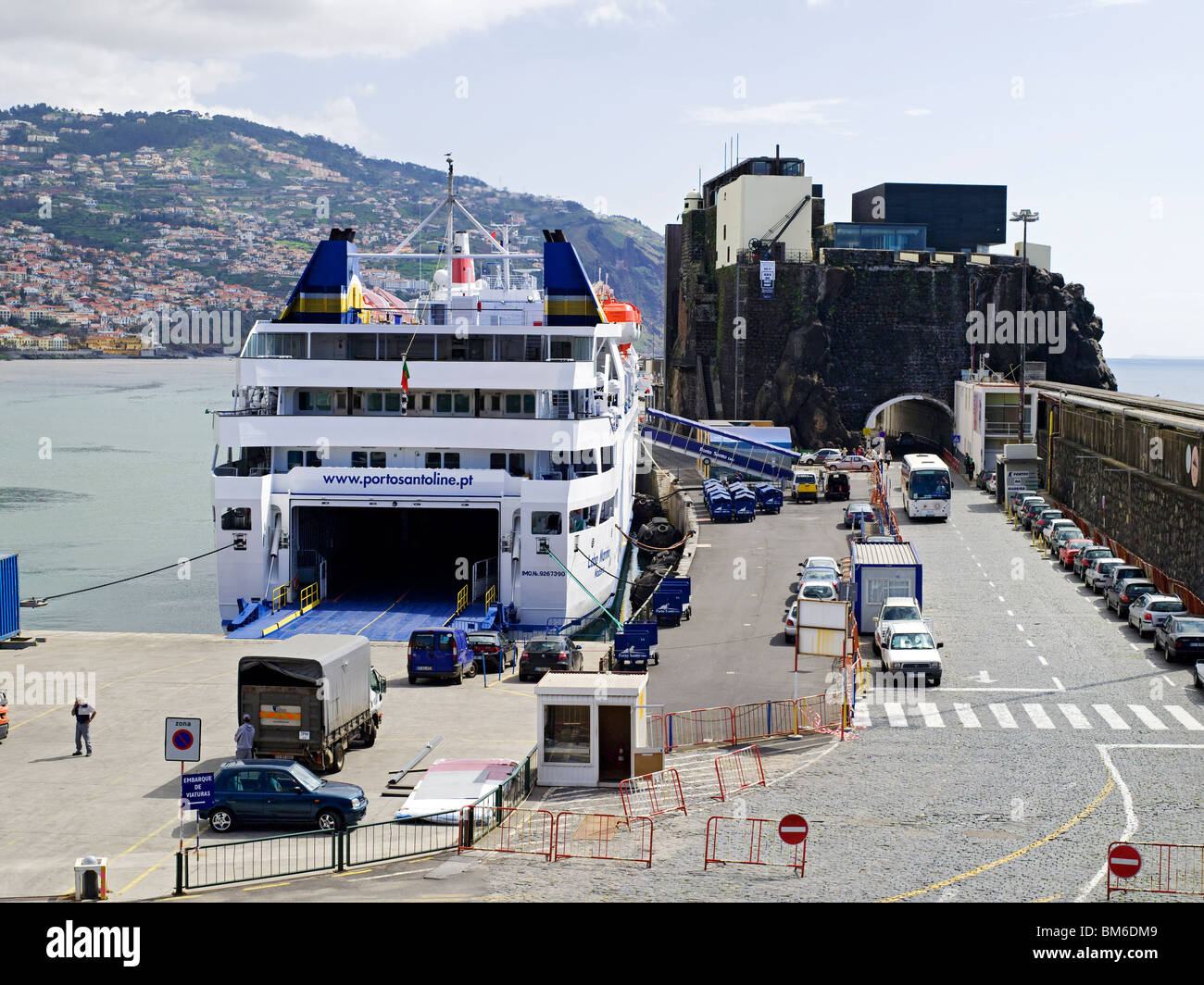 Lobo Marinho Porto Santo Ferry moored in the harbour Funchal Madeira Portugal EU Europe - Stock Image