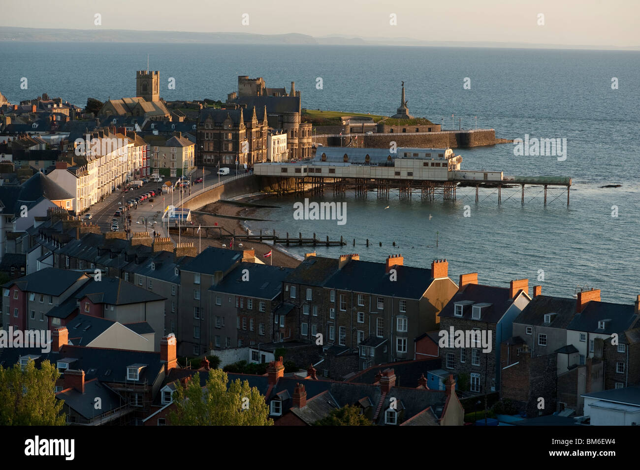 General view of Aberystwyth town, a seaside resort on the west coast of Wales UK - Stock Image