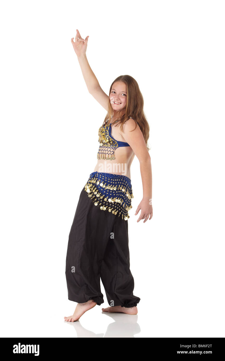 536976c28911 Young Caucasian belly dancing girl in beautiful decorated clothes on ...