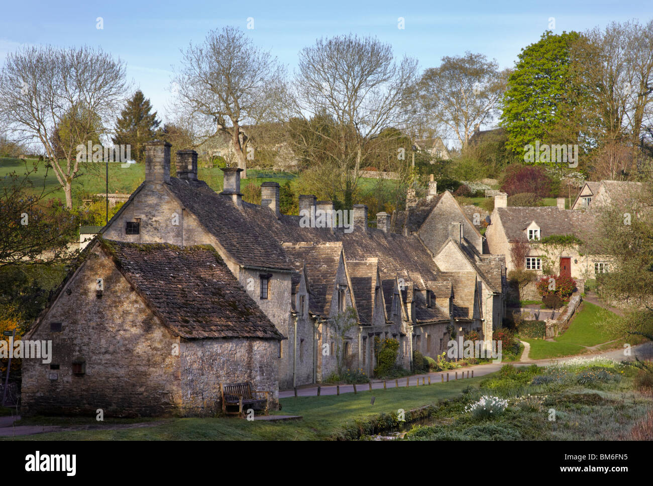 Arlington Row in the village of Bibury, Gloucestershire, England. Stock Photo