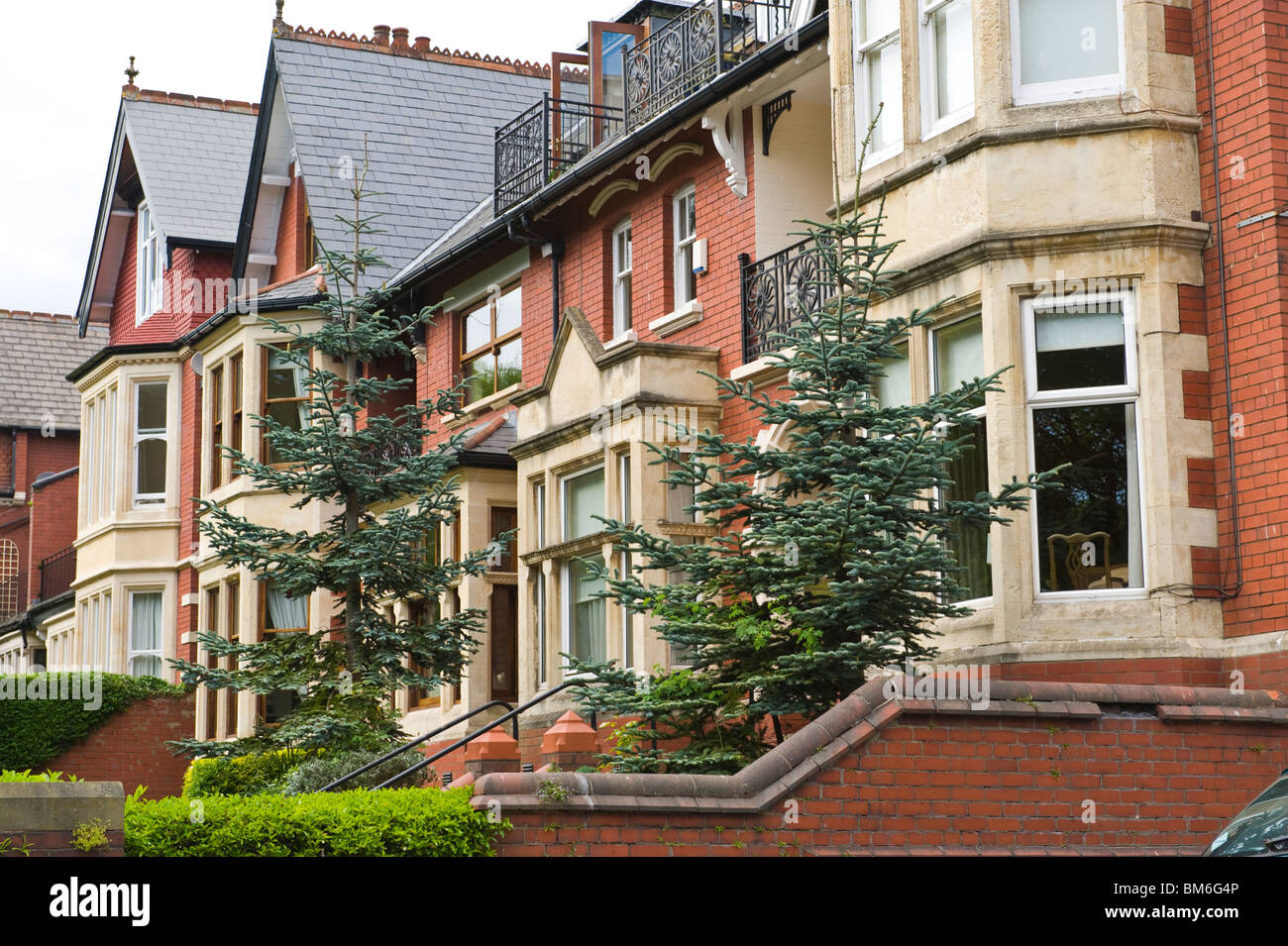 Large Edwardian early 20th century houses in Cardiff South Wales UK - Stock Image