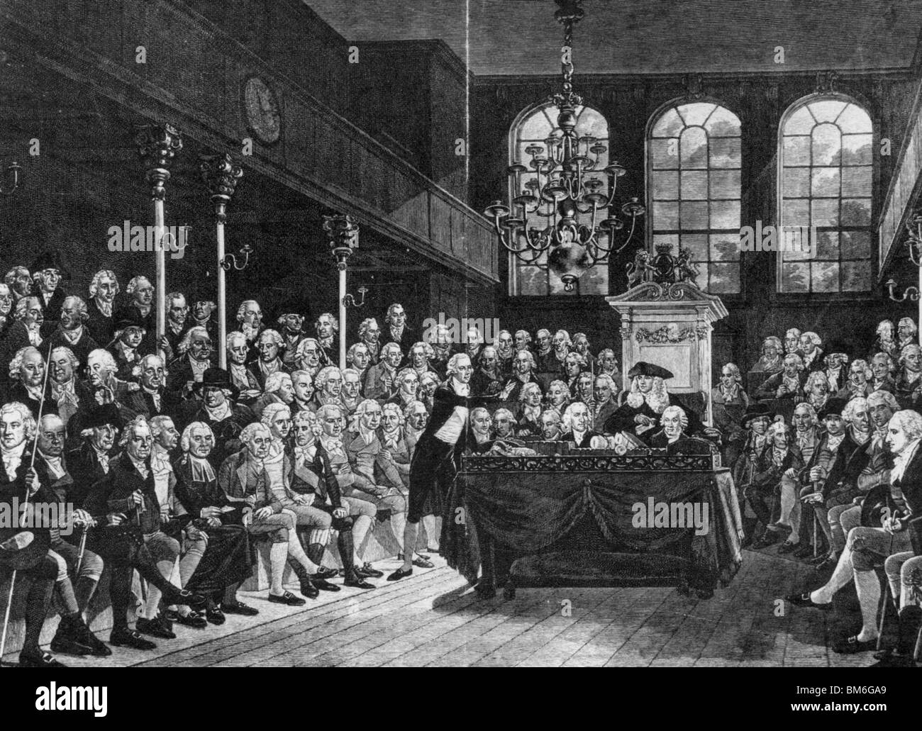 WILLIAM PITT addresses the House of Commons on the French declaration of war in 1793 - Stock Image