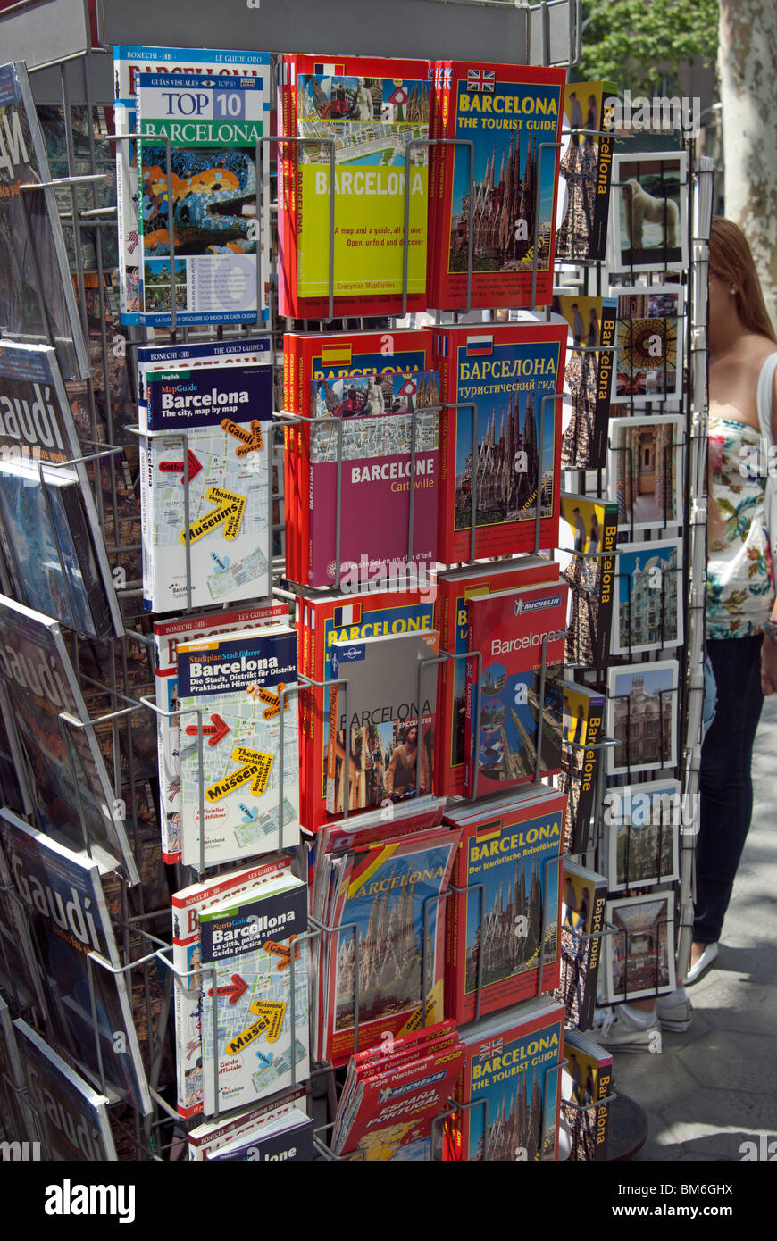 Postcard and Guide Book Display, Barcelona, Spain - Stock Image