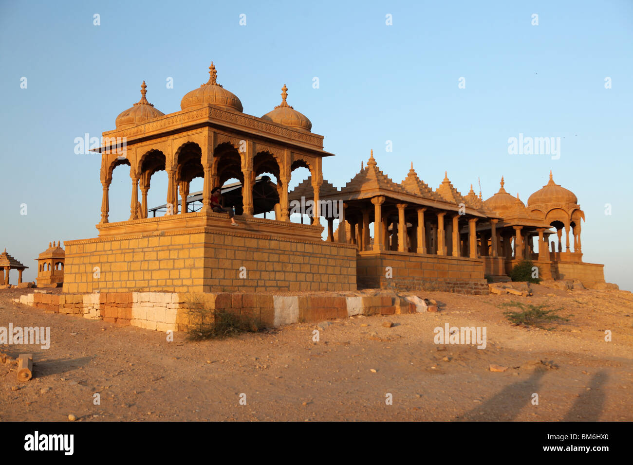 The Royal Cenotaphs or sunset point in Jaisalmer, Rajasthan, India. - Stock Image