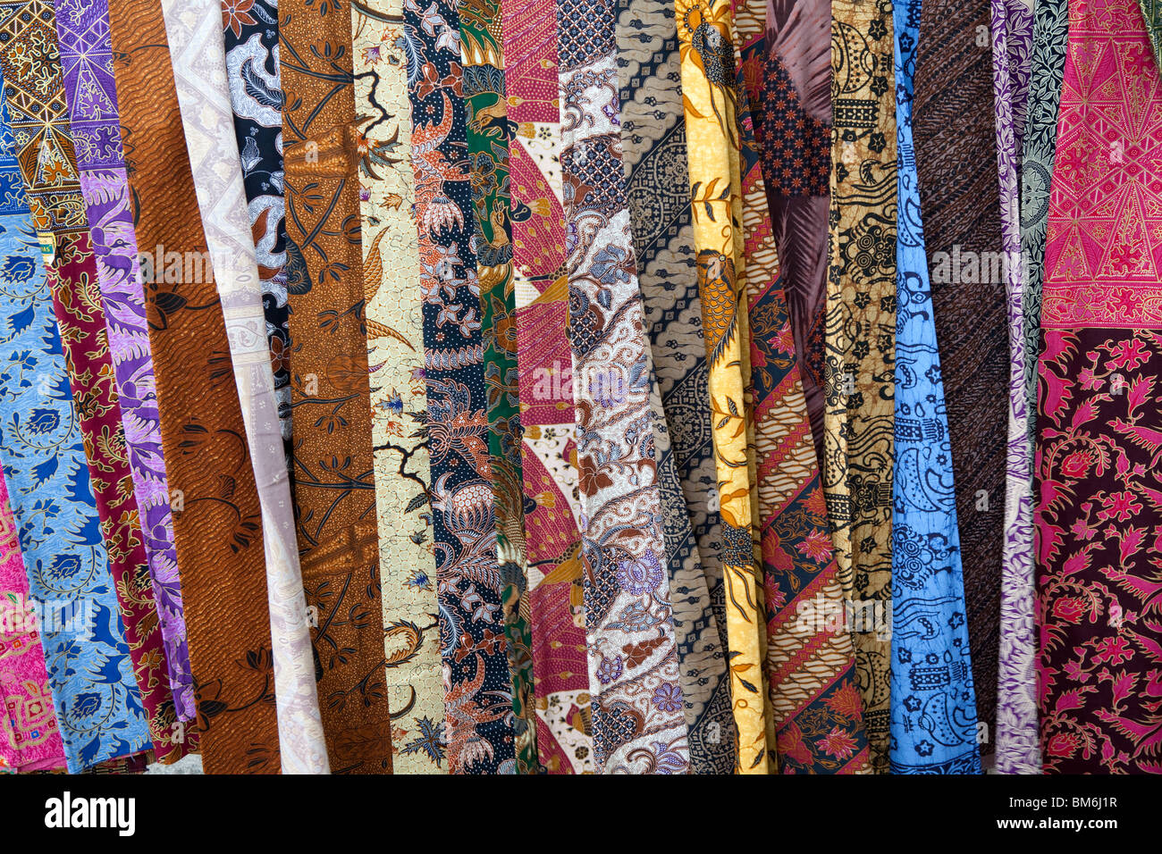 Sarongs with classic pattern at Bali Indonesia - Stock Image
